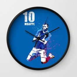 Mbappe art on blue #france Wall Clock