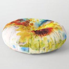 Watercolor Sunflowers Floor Pillow