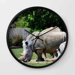 Southern White Rhino Rhinoceros Wall Clock