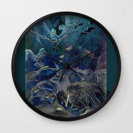 Kiwi, Bats, Morepork and More Wall Clock