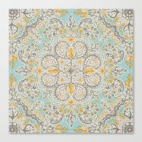 bedding Canvas Prints featuring Gypsy Floral in Soft Neutrals, Grey & Yellow on Sage by micklyn