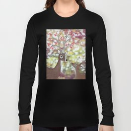 white tailed deer, tufted titmice, & cherry blossoms Long Sleeve T-shirt