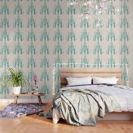 Three Amigos Turquoise + Coral Wallpaper