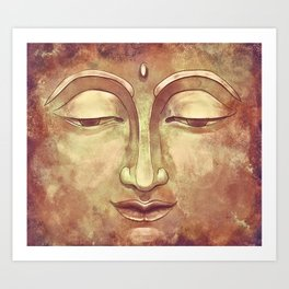 Relaxing Warm Buddha Watercolor Portrait Painting in Orange, Yellow, Green Art Print
