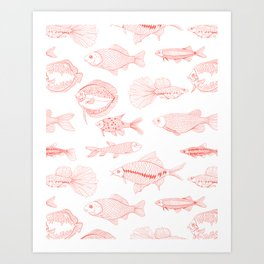 Fishes in living coral color Art Print