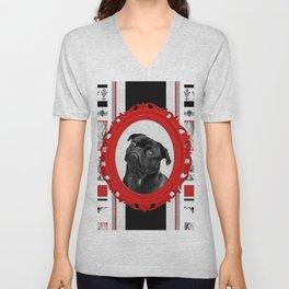Black pug red Frame black and white pattern stripes Unisex V-Neck