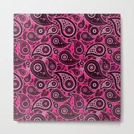 Rose Pink Paisley Pattern Metal Print