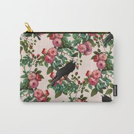 Roses With Crows Pattern Carry-All Pouch