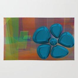 flower 5 blue Rug