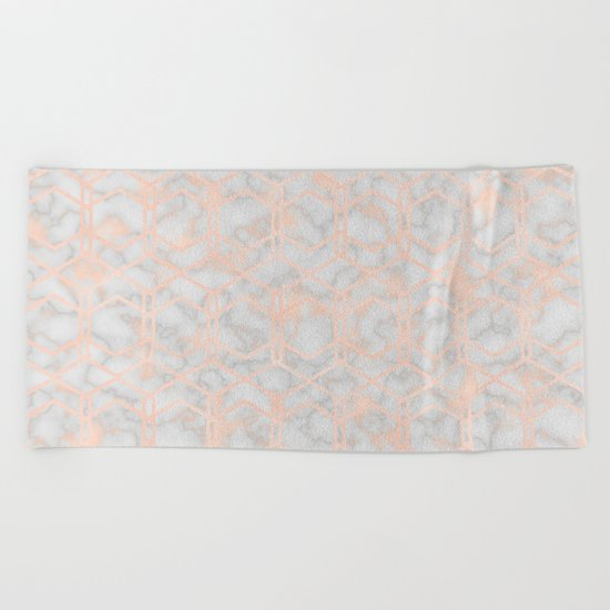 Geometric rose gold art deco on smokey marble Beach Towel