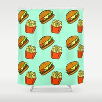 fries Shower Curtains featuring Burgers & Fries by CozyReverie