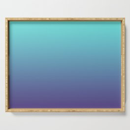 Ultra Violet Teal Ombre Gradient Pattern | Trendy color of the Year 2018 Serving Tray