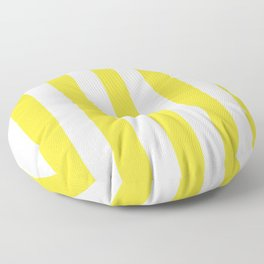 Banana yellow - solid color - white vertical lines pattern Floor Pillow