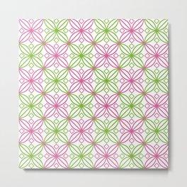 Pink and green circular abstract pattern Metal Print