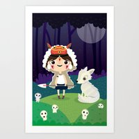princess mononoke Art Prints featuring Princess mononoke  by Maria Jose Da Luz