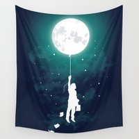 night Wall Tapestries featuring Burn the midnight oil  by Picomodi