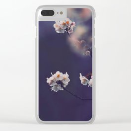 Beautiful White Flower Blossoms Against Purple Background Clear iPhone Case