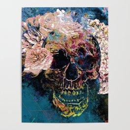 Skull Flowers - MidnightBlue Poster