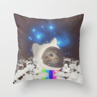 space cat Throw Pillows featuring Space Cat by omgcatz