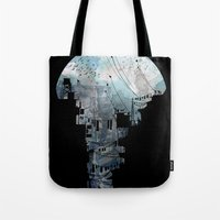 navy Tote Bags featuring Secret Streets II by David Fleck