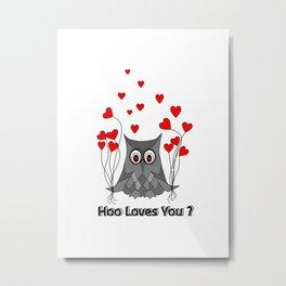 Valentines Day Owl Metal Print