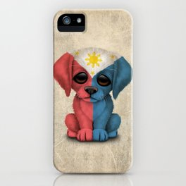 Cute Puppy Dog with flag of The Philippines iPhone Case