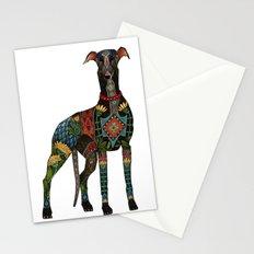 greyhound white Stationery Cards