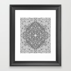 Vintage Winter Monochrome Doodle Framed Art Print