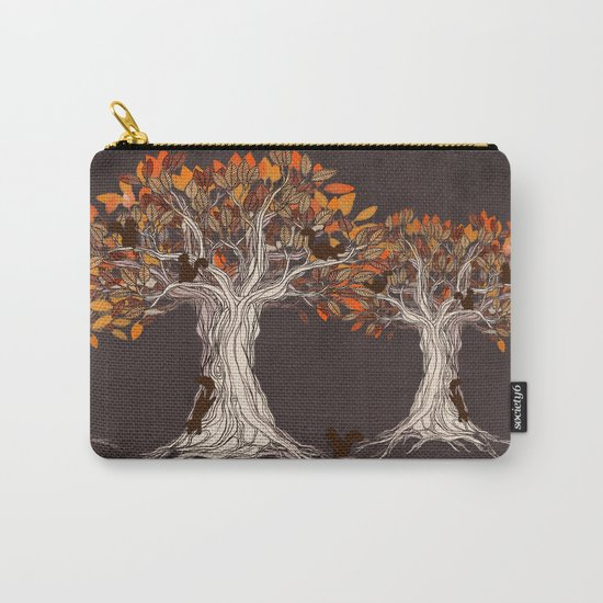 Little Visitors - Autumn tree illustration with squirrels Carry-All Pouch
