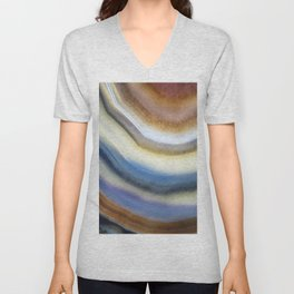 Colorful layered agate 2075 Unisex V-Neck