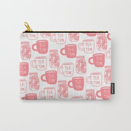Abstract coral white tea cups modern typography Carry-All Pouch