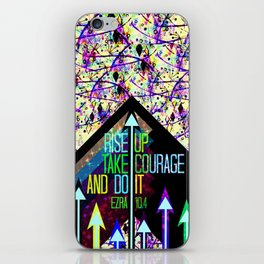 RISE UP TAKE COURAGE AND DO IT Colorful Geometric Floral Abstract Painting Christian Bible Scripture iPhone Skin
