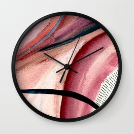 Rollercoaster - a vibrant, mixed media abstract piece in blues, pinks, and purples Wall Clock