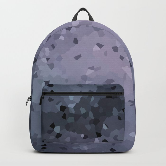 Abstract geometric pattern in blue grey and purple colours . Crystals Backpack
