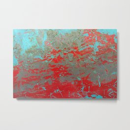 texture - aqua and red paint Metal Print