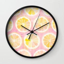 Orange Slices Pastel Fruit Wall Clock
