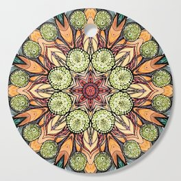 abstract red star hand drawn and kaleidoscope mandala Cutting Board