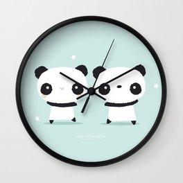 Panda in love Wall Clock