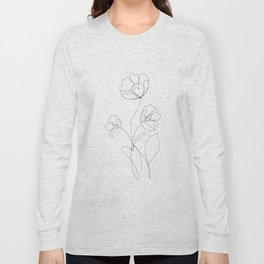 Poppies Minimal Line Art Long Sleeve T-shirt