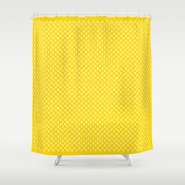 Tiny Paw Prints Pattern - Bright Yellow & White Shower Curtain