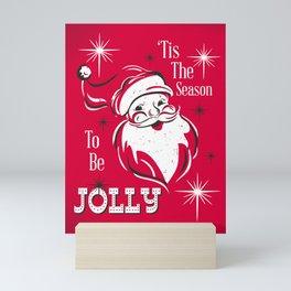 'Tis The Season - Retro Santa Red Mini Art Print
