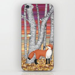 nuthatches and fox in the birch forest iPhone Skin