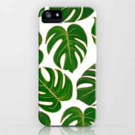 Modern hand painted green faux gold monster leaves iPhone Case