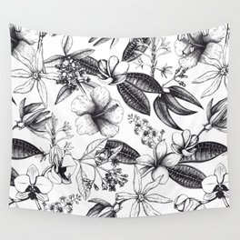 Black and White Vintage Tropical Flowers Pattern Wall Tapestry
