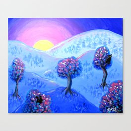 Blue Acrylic Mountain Sunset Landscape Painting Canvas Print
