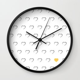 Hearts - Yellow Wall Clock