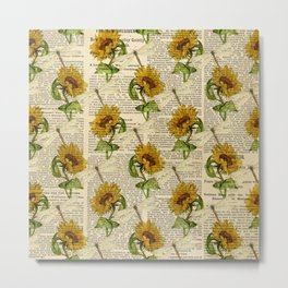 Sunflowers Dragonflies Newspaper Country Style  Metal Print