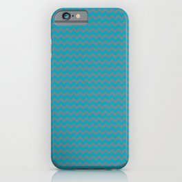 Aqua Blue and Gray Chevron Zigzag Pattern 2021 Color of the Year AI Aqua and Good Gray iPhone Case