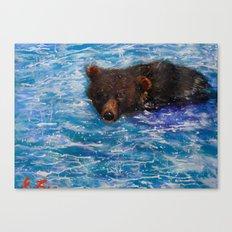 Wildlife Painting Series 5 - Alaska Little Brown Bear swimming in Icy lake Canvas Print
