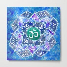 Om Mandala Watercolor Blue Metal Print